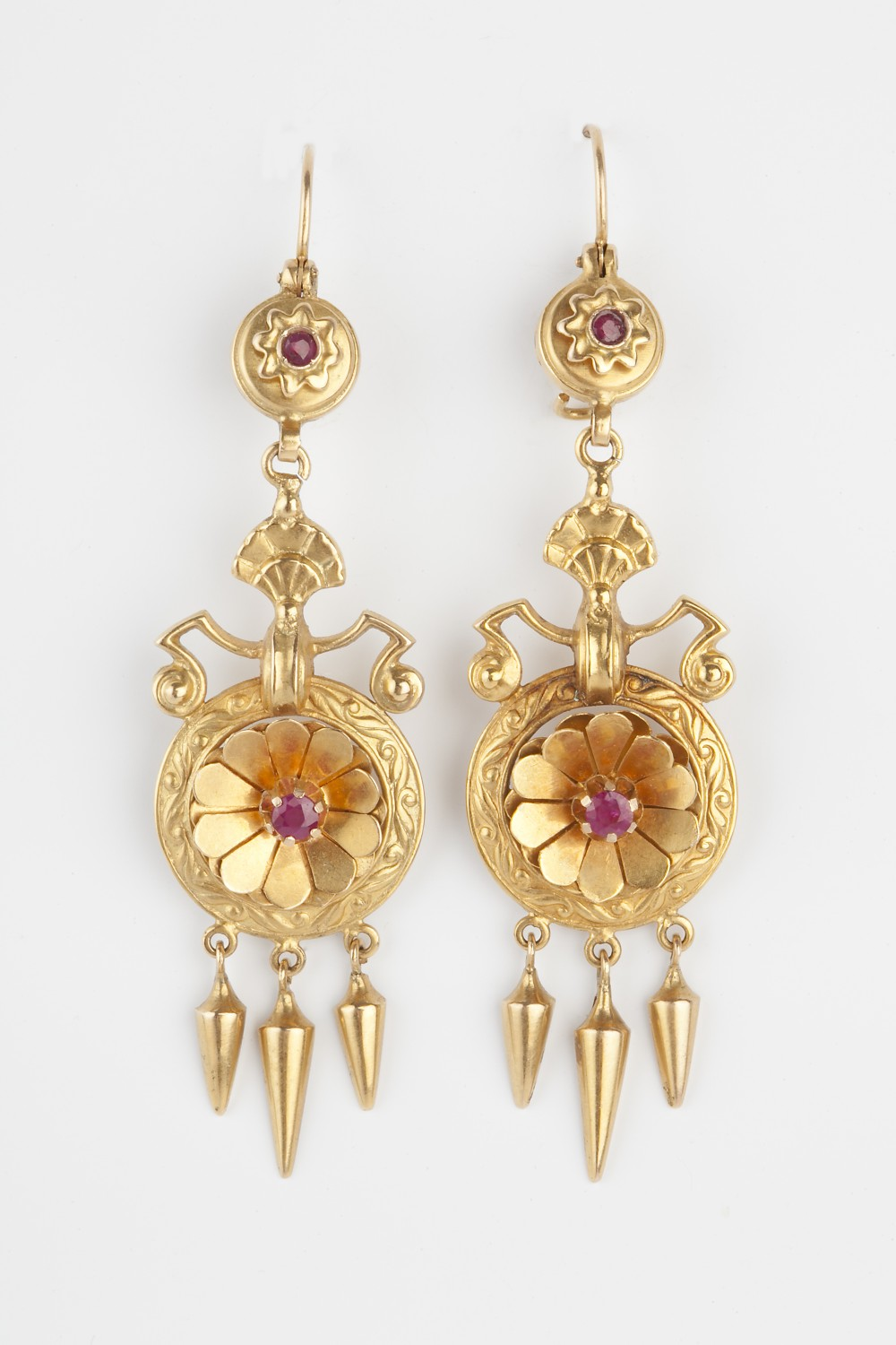 etruscan revival ruby victorian earrings