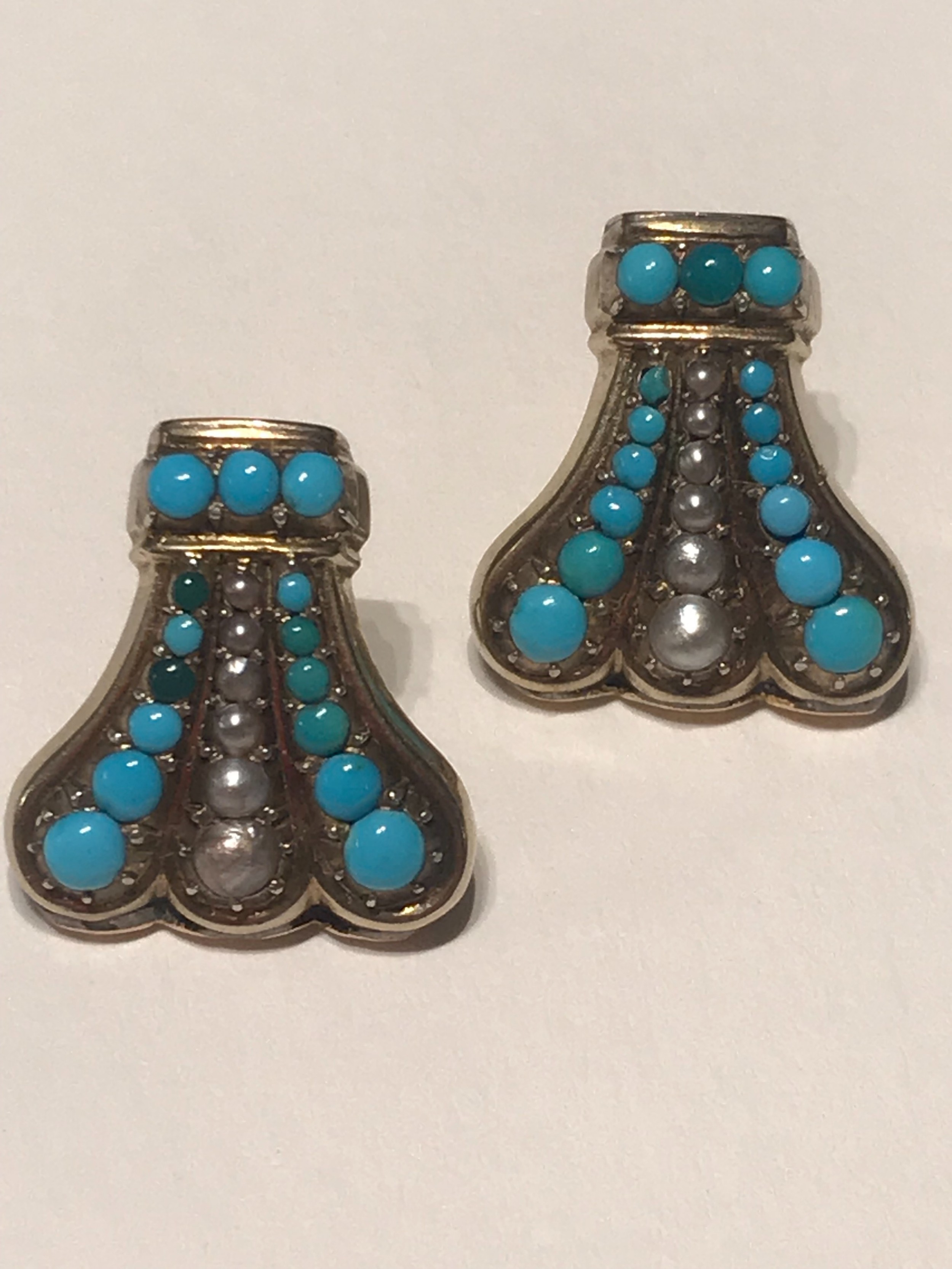 turquoise and pearl edwardian earrings