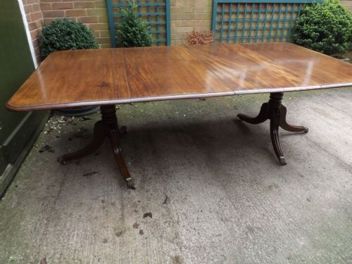 c19th regency period mahogany twinpillar dining table