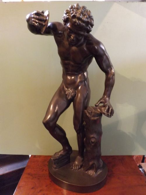 c19th 'grand tour' bronze figure dancing faun with clappers