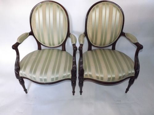 pair c19th george iii style mahogany salon armchairs