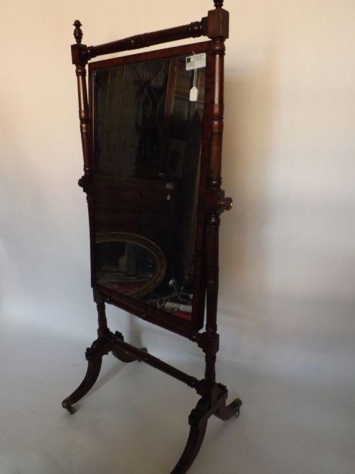 c19th regency period mahogany chevalbase robing mirror
