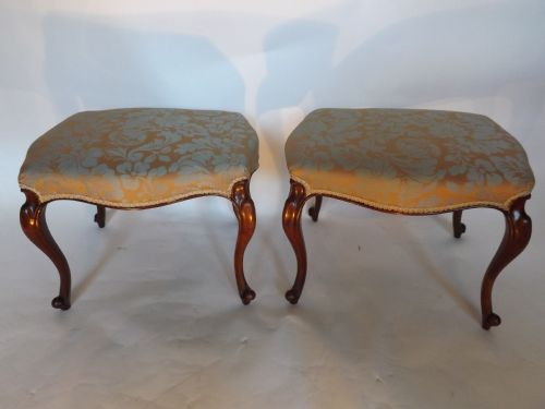 pair c19th victorian walnut cabriole leg stools