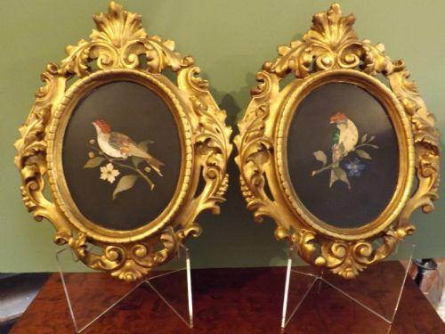 pair c19th italian pietradura bird picturesplaques in original frames