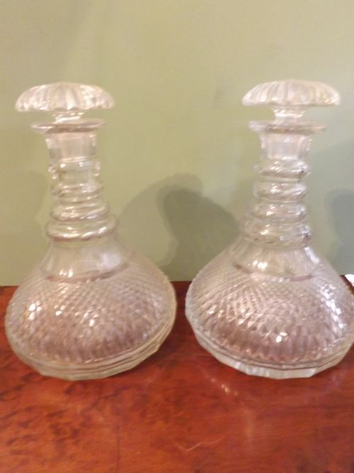 pair early c20th regency style cutglass ships decanters
