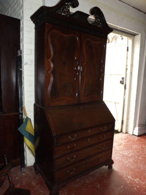 c18th george ii period mahogany bureau cabinetbookcase