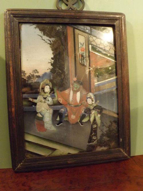 pair late c19th chinese reversepainted glass pictures
