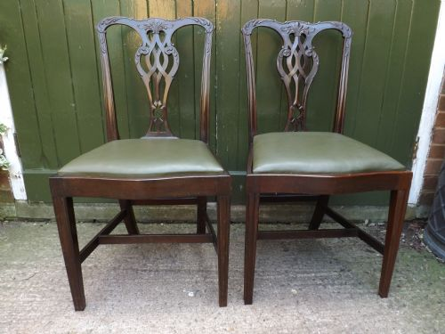 set of 6 late c19th chippendale design mahogany dining chairs