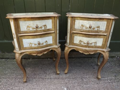 pair early c20th venetianstyle miniature bedside chests