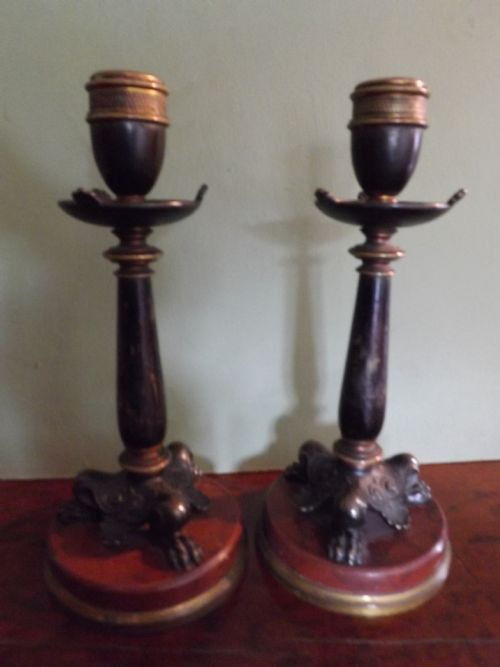 pair c19th french charles x period empirestyle bronze candlesticks