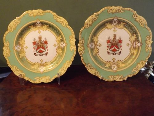 pair early c20th royal cauldon porcelain armorial cabinet plates
