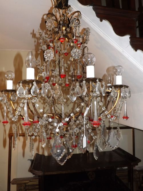 early c20th french glass chandelier