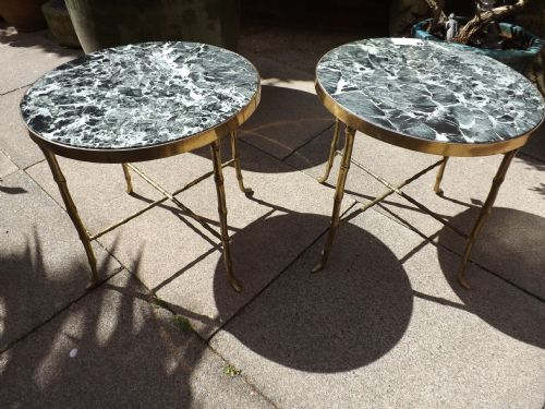 pair early c20th french brass and marble occasional tables