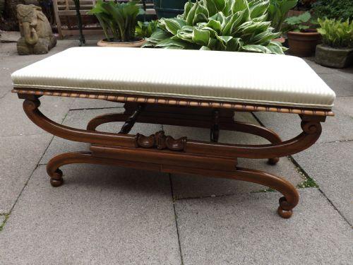 c19th regency period xframed rosewood dressing stool or window seat
