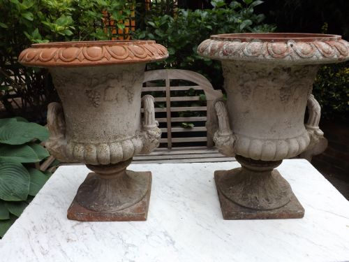 pair c19th late victorian period fired terracotta gardenterrace vases