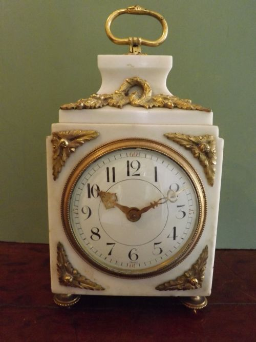 late c19th french white marble and ormolu 'pendule d'officier' clock
