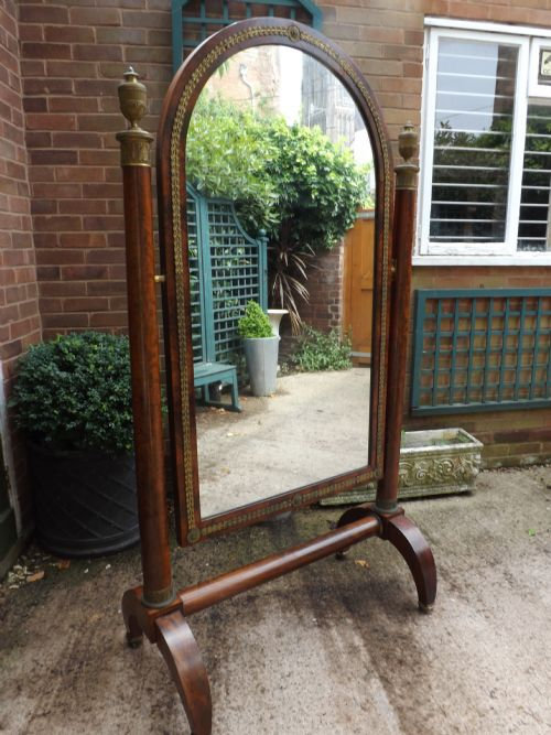 c19th french empire period mahogany and ormolumounted 'cheval ' or psyche robing mirror