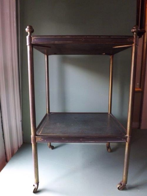 late c19th early c20th brassframed leathertop 2 tier occasional table