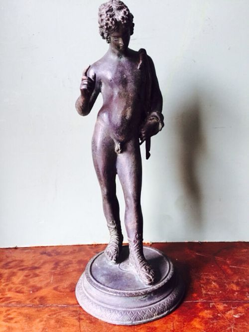 c19th italian 'grand tour' souvenir bronze sculpture after the antique of dionysus known as narcissus