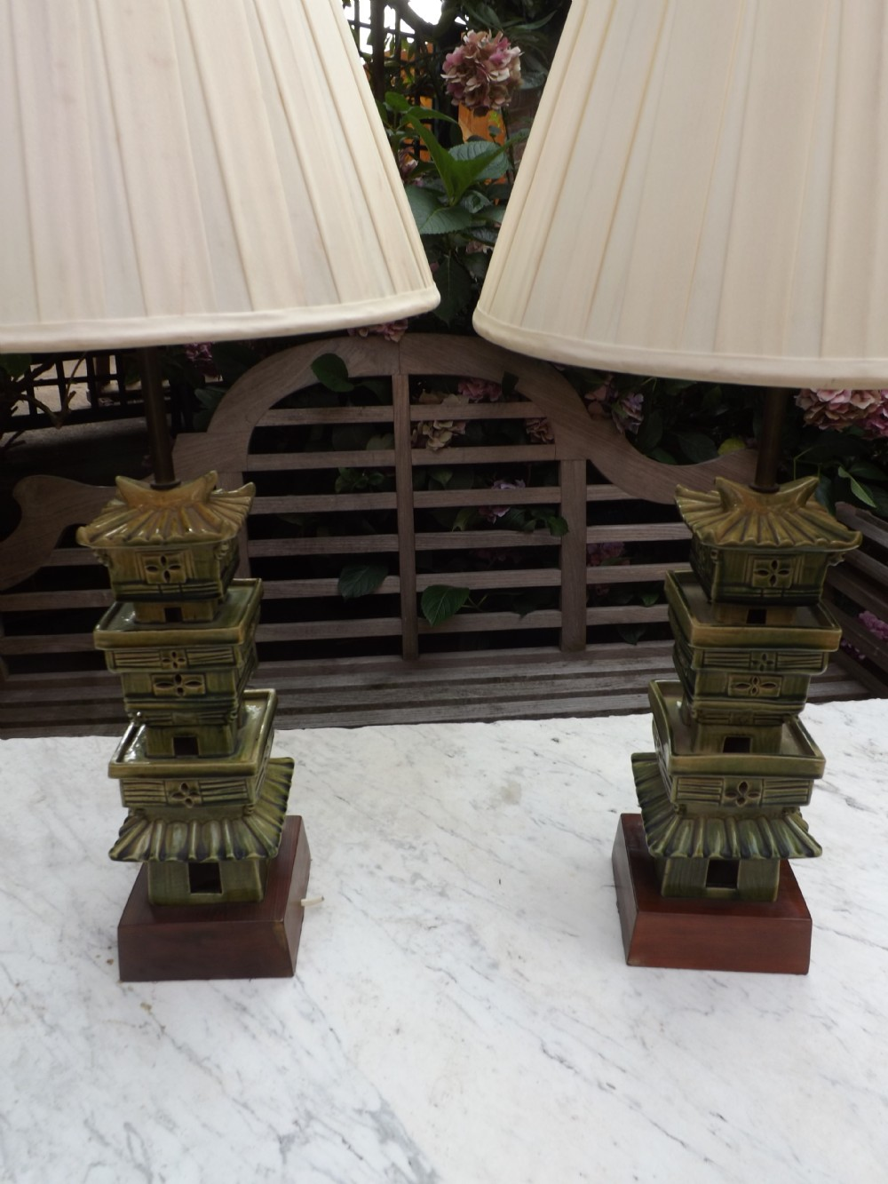 pair of early c20th chinesestyle pagoda shaped table lamps