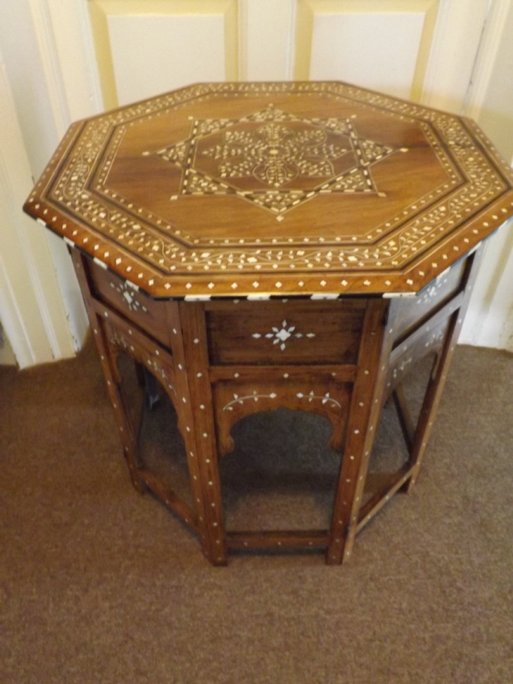 c19th indian ivoryinlaid 'shisham' indian rosewood octagonal occasional table