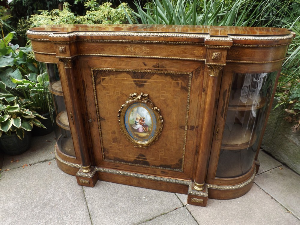 c19th victorian period inlaid banded and ormolumounted burrwalnut credenza