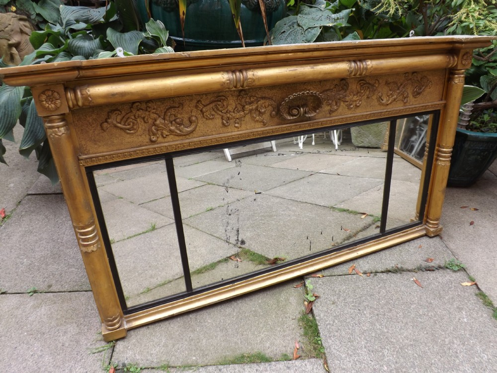 c19th regency period giltwood 3plate overmantel mirror