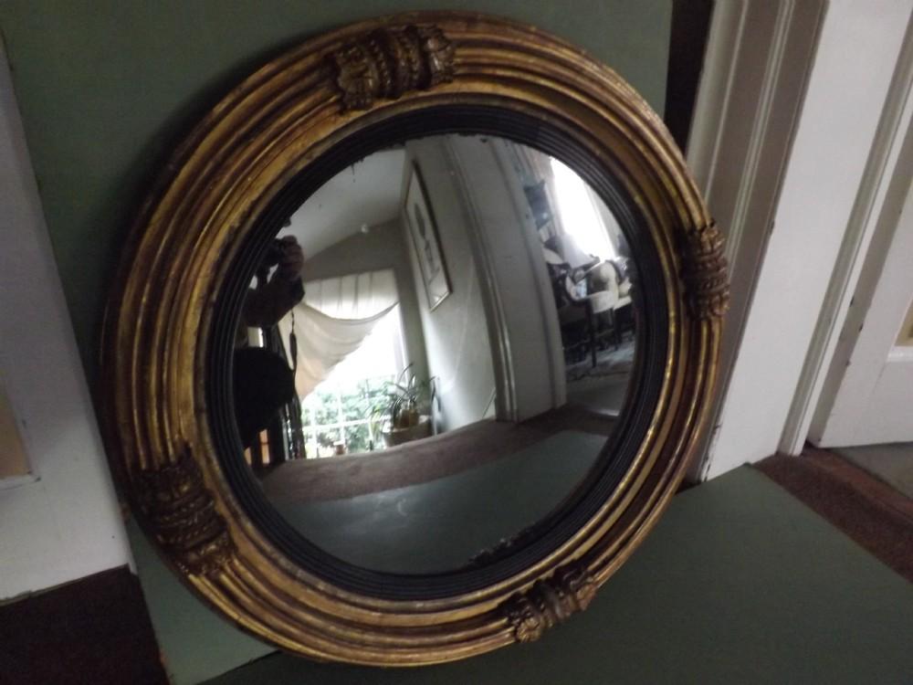 c19th regency period giltwood framed convex mirror