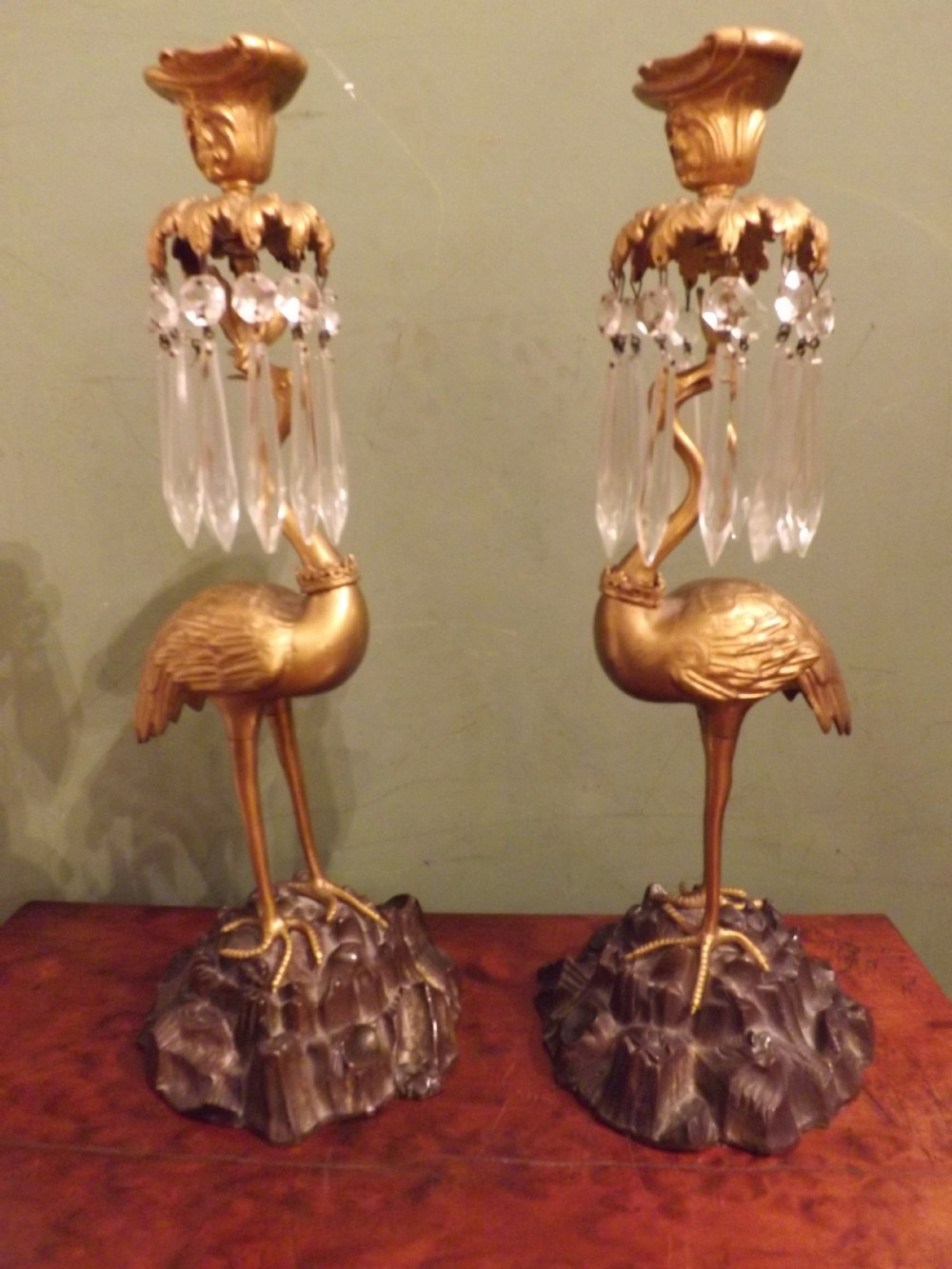 pair of c19th william iv period bronze and ormolu candlesticks