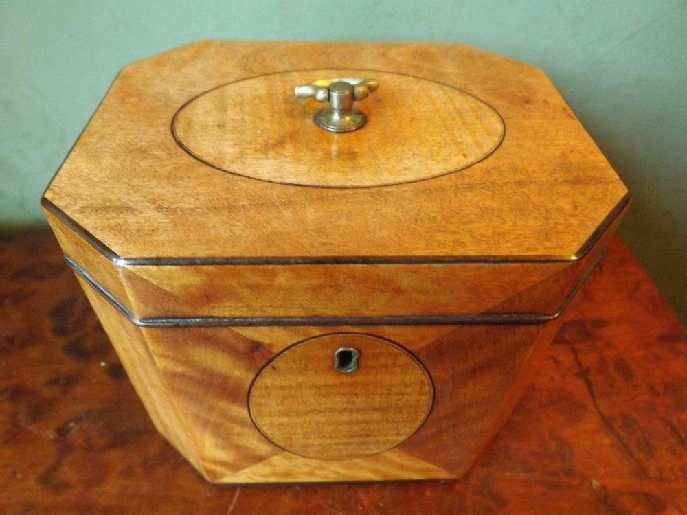 c18th george iii period octagonal satinwood tea caddy