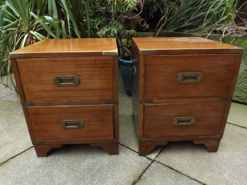 pair early c20th mahogany brassbound military campaignstyle bedside chests