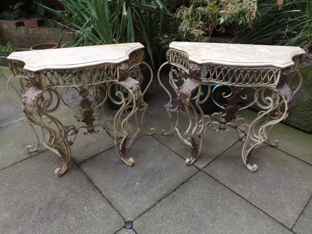 pair early c20th french wrought iron console tables