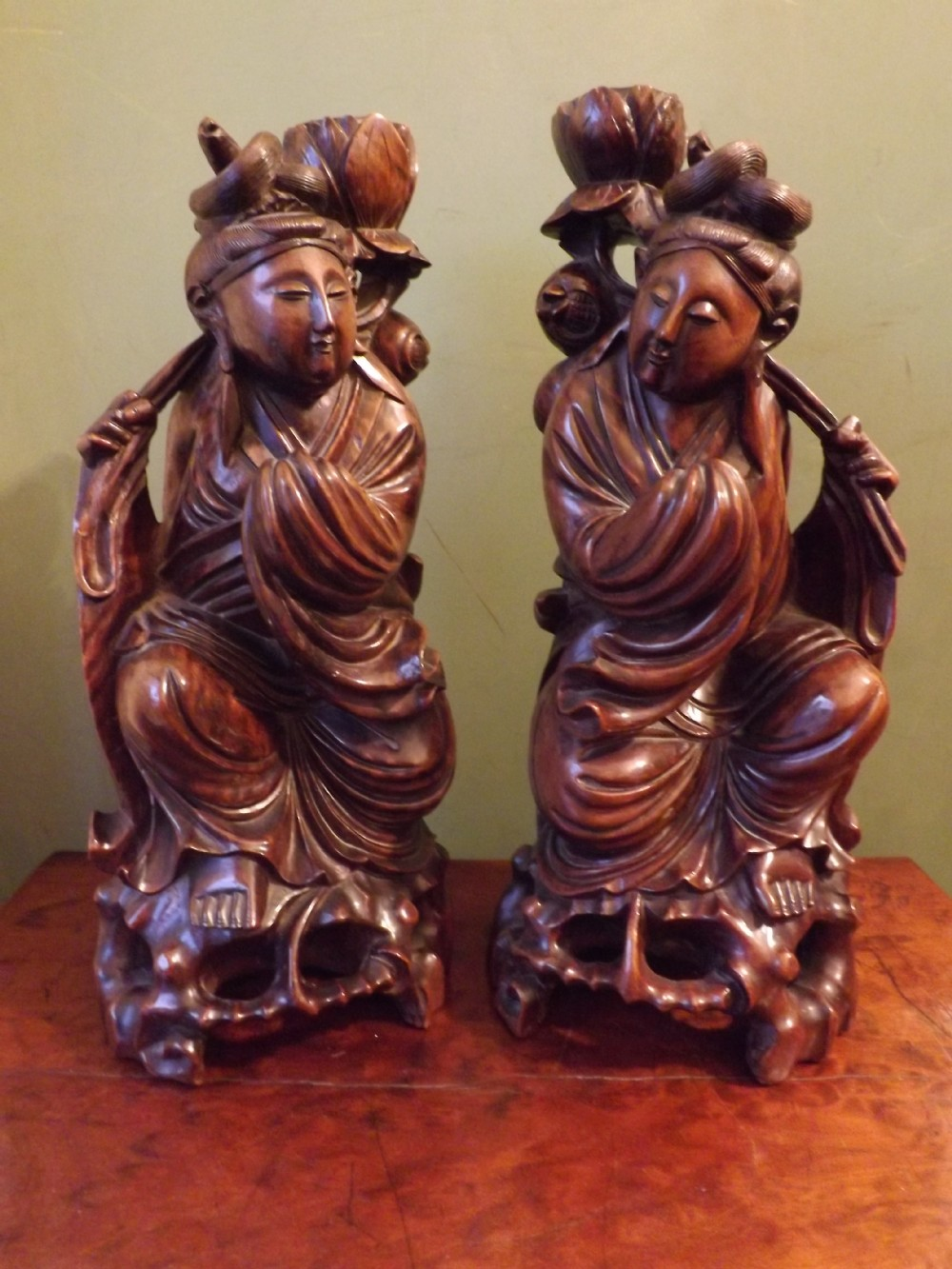 pair late c19th chinese carved hardwood figures