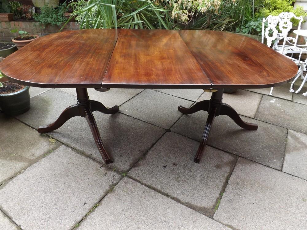 late c18th george iii period mahogany twinpillar dining table