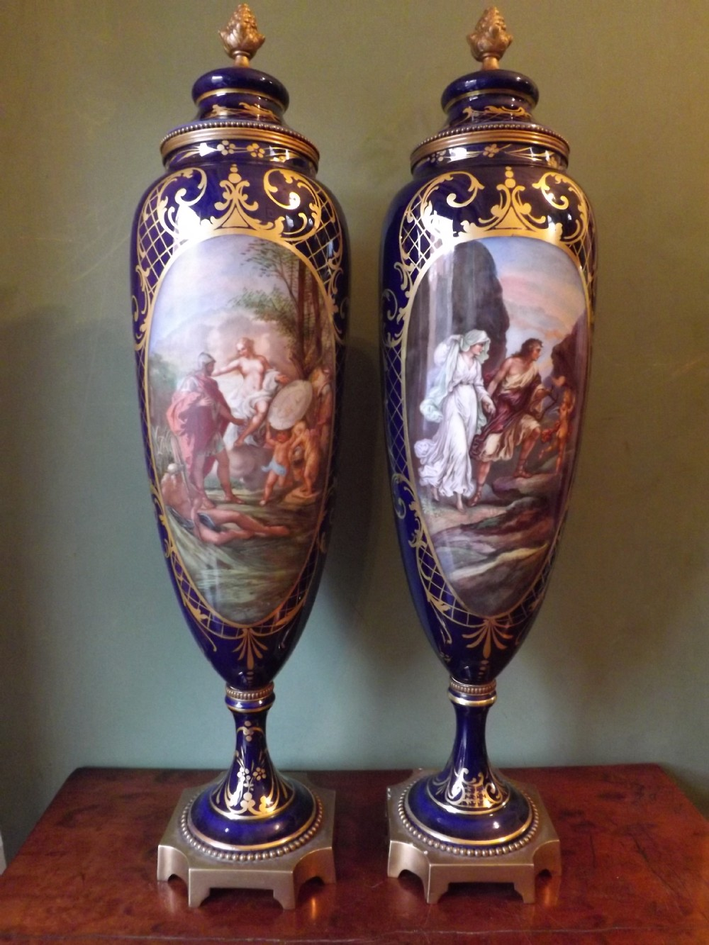 pair of late c19thearly c20th royal vienna style porcelain vases