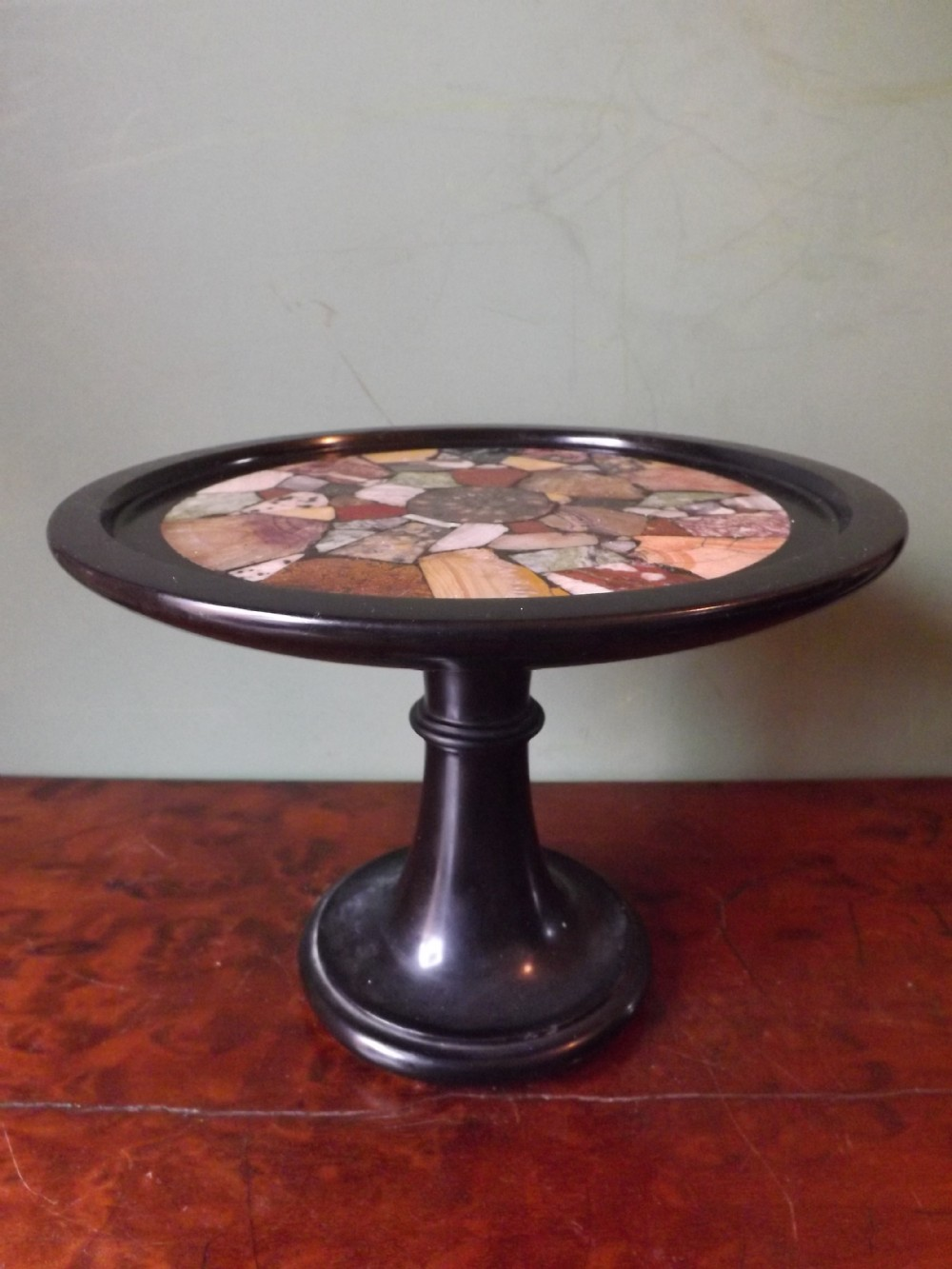 c19th black marble tazza with coloured specimen marble inlaid top