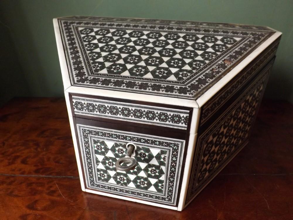 late c19th angloindian 'sadeliwork' stationary box