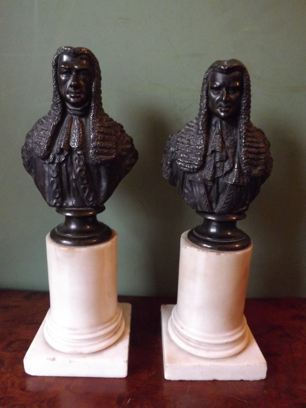 pair of c19th french bronze bust studies of judges after comte d'orsay