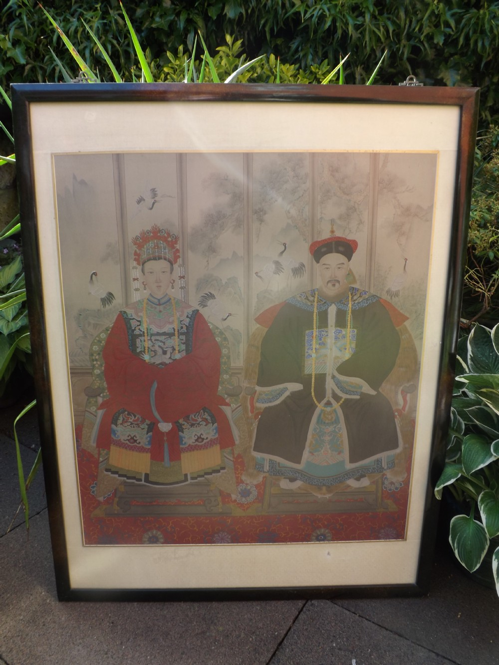 early c20th chinese 'ancestors' watercolour drawing in lacquered frame