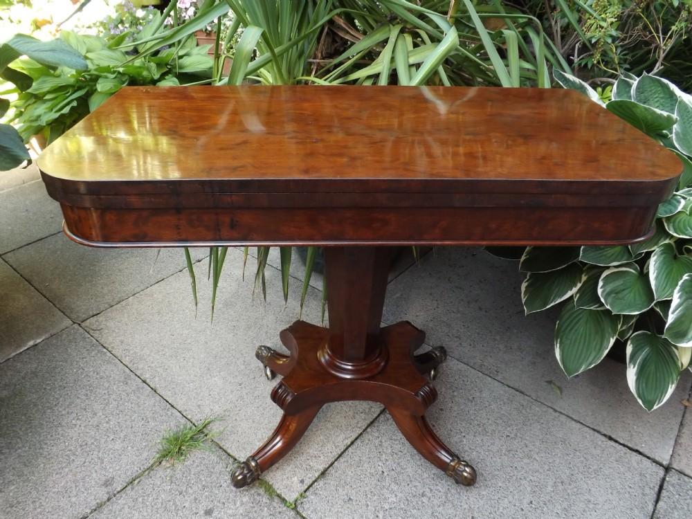 c19th george iv period mahogany foldover top teatable