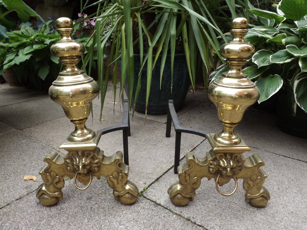 pair of c17thstyle brass fireplace andirons or 'firedogs'