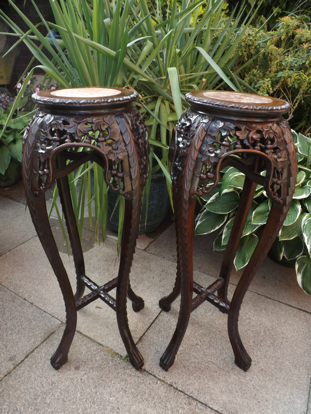 Pair of c19th chinese late qing dynasty carved hardwood inset pair of c19th chinese late qing dynasty carved hardwood inset marbletop jardinire or vase stands reviewsmspy