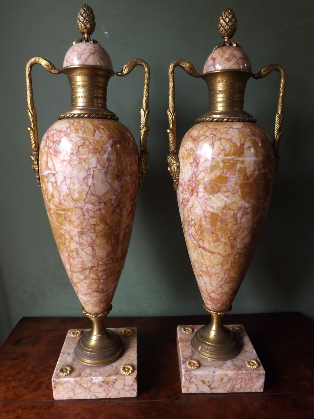 pair of late c19th french ormolumounted marble urnsvases