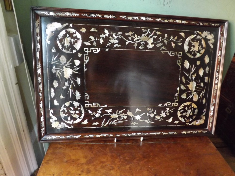 late c19th chinese qing dynasty 'mother o'pearl' inlaid hardwood tray