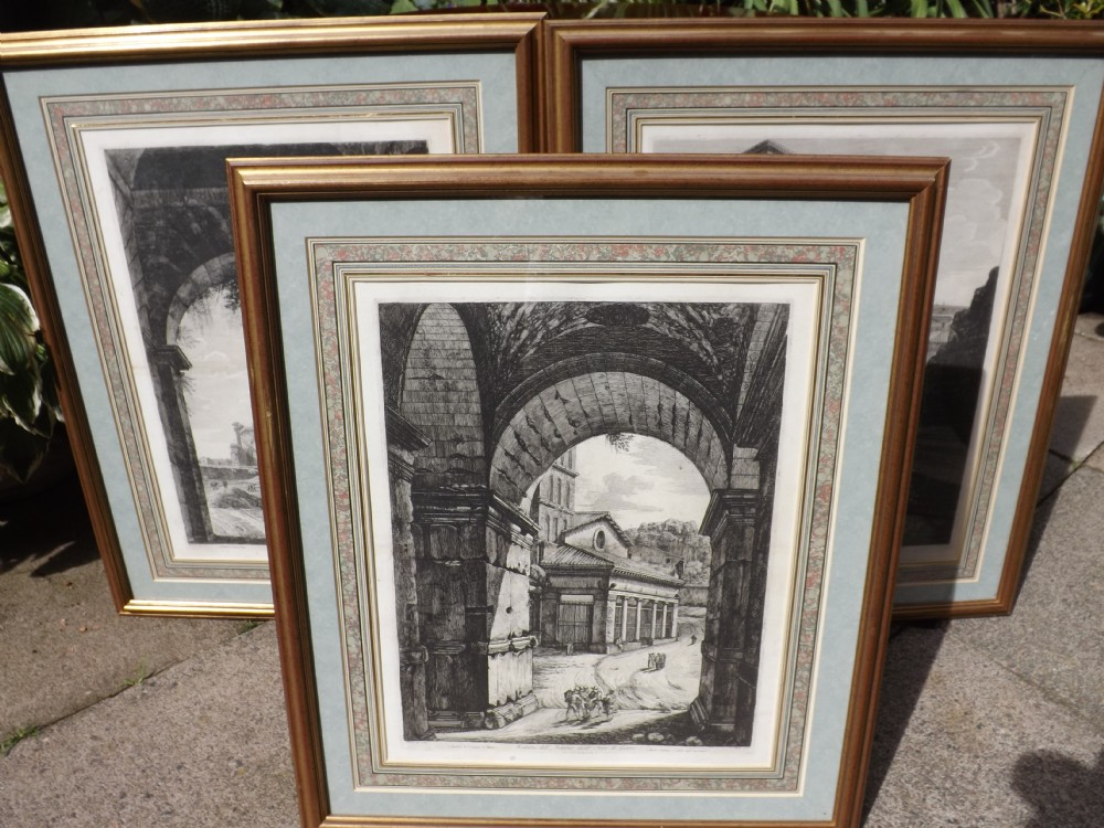 trio of c19th classical black and white engravings after luigi rossini