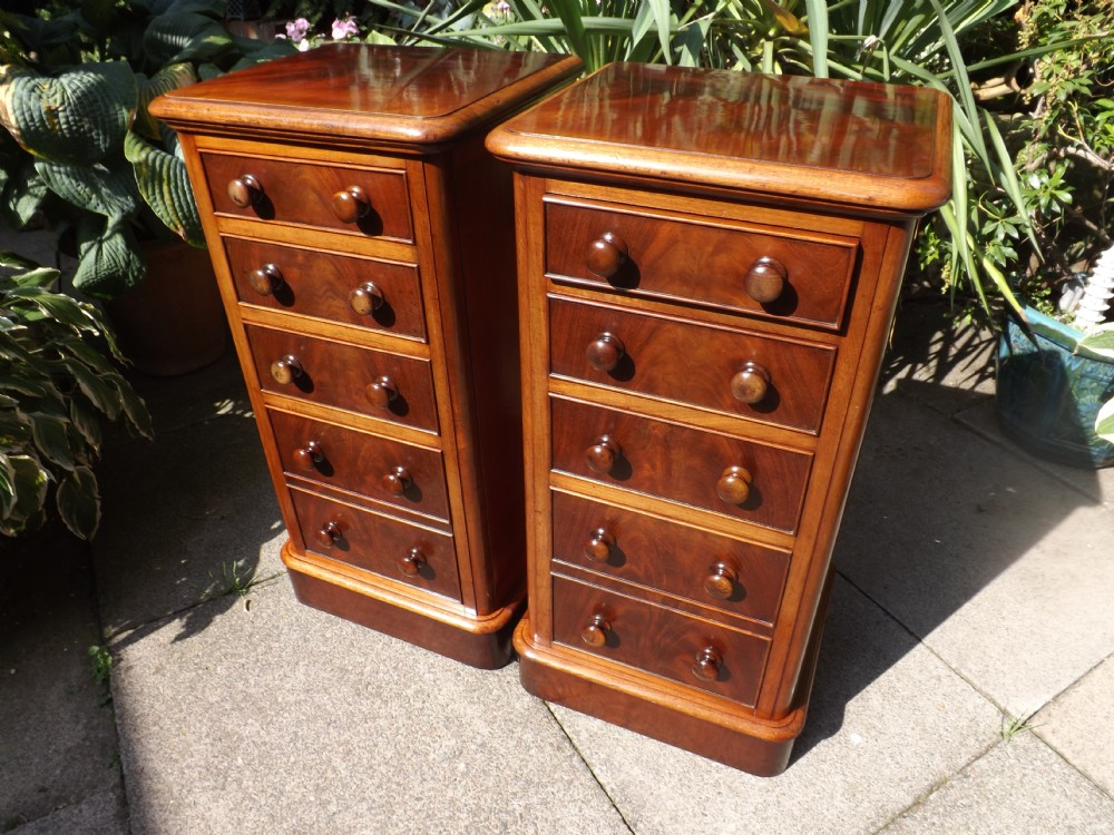 pair of c19th victorian period bedside chestsofdrawers