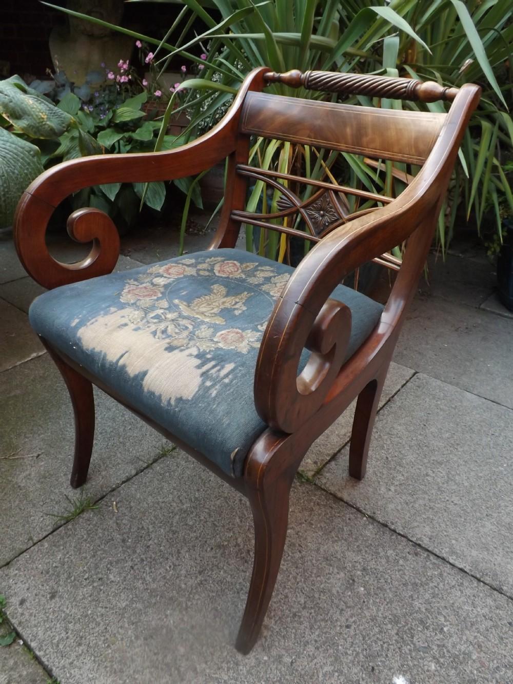 early c19th regency period mahogany armchair