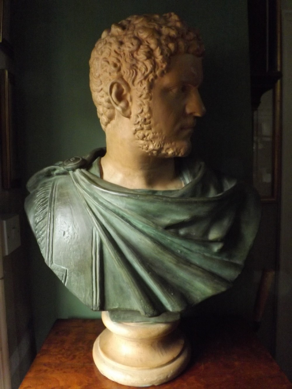 late c19th terracotta library bust study of the infamous roman emperor caracalla