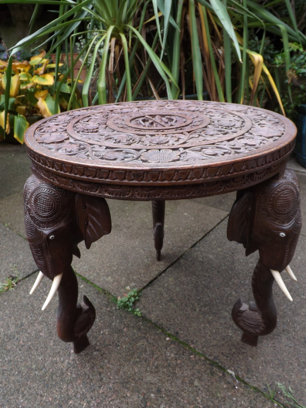 late c19th early c20th indian carved teak occasional table
