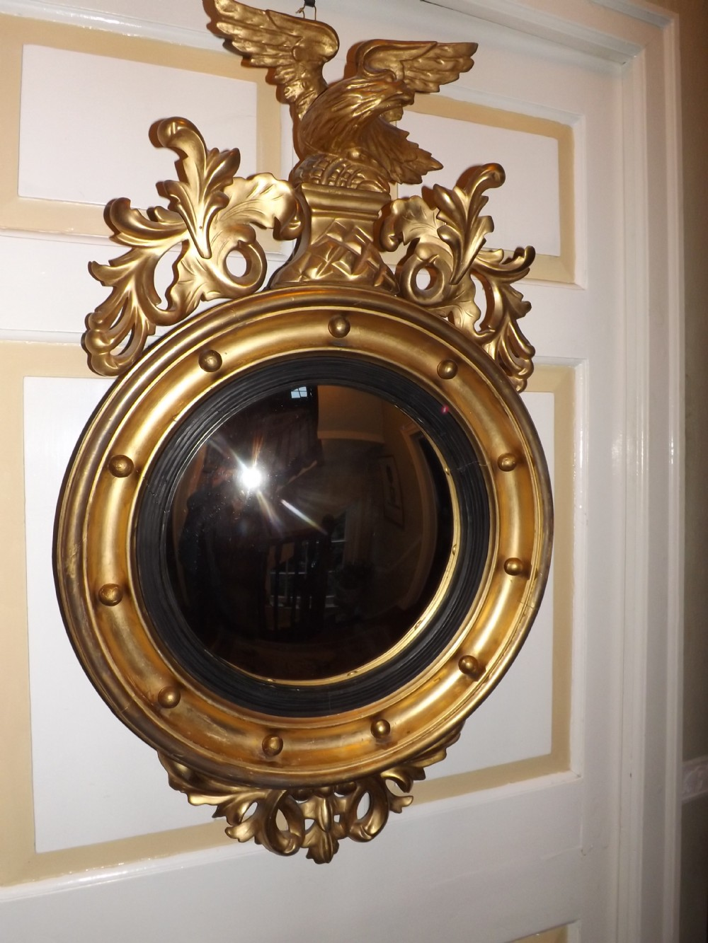 c19th regency period giltwood framed convex wall mirror